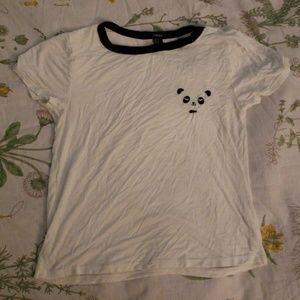 Forever 21 Panda Ringer Tee Shirt